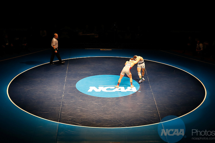 12 MAR 2016: David Welch of Roger Williams (right) grapples with Gerard Roman of Wartburg in the 197-pound championship match during the Division III Men's Wrestling Championship at the U.S. Cellular Center in Cedar Rapids, IA. Wartburg won the championship with 129.5 points. Adam Wesley/NCAA Photos