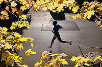 Tyrone Harris is framed by maple leaves as he runs in the lead of the 4th Annual Frosty Freeze 5K run Saturday morning in Decatur.  Harris eventually finished second in the race.  photo by Gary Cosby Jr.  12/1/07