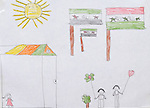 A refugee child's drawing depicts the hope that their family will soon return home to Syria. The drawing was done by a child in a psycho-social support group in Kamid al lawz, a town in Lebanon's Bekaa Valley, where the International Orthodox Christian Charities and other members of the ACT Alliance are assisting refugees in a variety of ways..