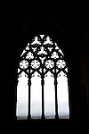 Silhouetted Gothic arch, The Seu Vella,Castle of the King, ancient cathedral, Lleida. Catolonia. Spain.