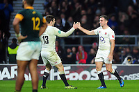 George Ford of England celebrates his second half try with team-mate Elliot Daly. Old Mutual Wealth Series International match between England and South Africa on November 12, 2016 at Twickenham Stadium in London, England. Photo by: Patrick Khachfe / Onside Images