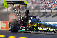 Mar 18, 2017; Gainesville , FL, USA; NHRA top fuel driver Ike Maier during qualifying for the Gatornationals at Gainesville Raceway. Mandatory Credit: Mark J. Rebilas-USA TODAY Sports