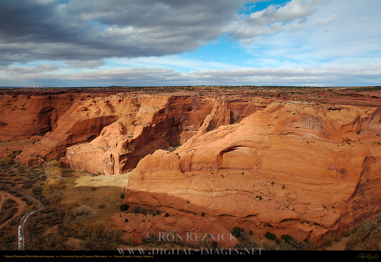 Chinle Wash and Canyon de Chelly from White House Overlook, Canyon de Chelly National Monument, Navajo Nation, Chinle, Arizona