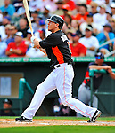 13 March 2012: Miami Marlins outfielder Logan Morrison in action during a Spring Training game against the Atlanta Braves at Roger Dean Stadium in Jupiter, Florida. The two teams battled to a 2-2 tie playing 10 innings of Grapefruit League action. Mandatory Credit: Ed Wolfstein Photo