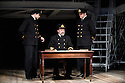 London, UK. 03.06.2016. TITANIC opens at Charing Cross Theatre. Directed by Thom Southerland and produced by Danielle Tarento. Picture shows: Scott Cripps (Murdoch), Philip Rham (Captain Edwards), Alistair Barron (Lightoller). Photograph © Jane Hobson.