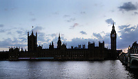 The Palace of Westminster, London, UK, or Houses of Parliament, 1840-60, by Sir Charles Barry and Augustus Pugin. The Gothic Perpendicular building replaced its predecessor, destroyed by fire, 1834. The 96.3 metre high clock tower is named after its largest bell, Big Ben. Picture by Manuel Cohen