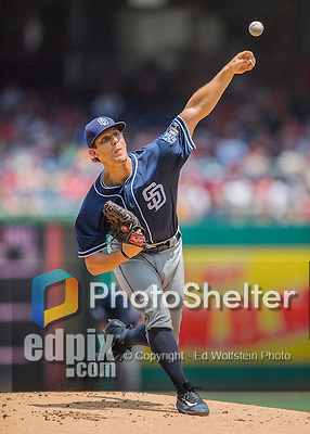24 July 2016: San Diego Padres pitcher Christian Friedrich on the mound against the Washington Nationals at Nationals Park in Washington, DC. The Padres defeated the Nationals 10-6 to take the rubber match of their 3-game, weekend series. Mandatory Credit: Ed Wolfstein Photo *** RAW (NEF) Image File Available ***
