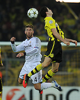FUSSBALL   CHAMPIONS LEAGUE   SAISON 2012/2013   GRUPPENPHASE   Borussia Dortmund - Real Madrid                                 24.10.2012 Sergio Ramos (li, Real Madrid) gegen Robert Lewandowski (re, Borussia Dortmund)