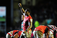 Maro Itoje of Saracens celebrates at the final whistle. Aviva Premiership match, between Leicester Tigers and Saracens on January 1, 2017 at Welford Road in Leicester, England. Photo by: Patrick Khachfe / JMP