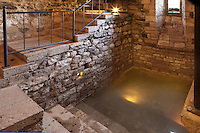 Mikveh or Mikvah, Jewish ritual bathhouse, 12th century, Besalu, Girona, Spain. This place was discovered in 1964 and is the only one of its kind discovered in the Iberian Peninsula and one of the few known in Europe. Picture by Manuel Cohen