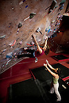 THIS PHOTO IS AVAILABLE EXCLUSIVELY FROM AURORA PHOTOS; LICENSING MUST GO THROUGH AURORA.<br /> Visit Aurora and Keyword &quot;Tim Matsui&quot; <br /> http://www.auroraphotos.com / +1.207.828.8787<br /> <br /> Climbers at the Stone Gardens climbing gym, Seattle, Washington, USA. Sport climbers and boulderers at Stone Gardens, an indoor climbing in Seattle, Washington.