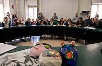 Roma 22 Ottobre 2010.Conferenza stampa dei medici e personale  dell'istituto di Neuro Psichiatria Infantile in via dei Sabelli 108, nel quartiere San Lorenzo per protestare contro la drastica  riduzione dei servizi assistenziali ( da 14 posti letto a 10, da 21 diurni a 2), eseguiti dalla giunta Polverini