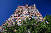 Deities on gopuram (tower) at the Sri Meenakshi (Hindu temple) in Madurai, Tamil Nadu, India