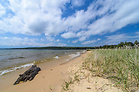 A beautiful summer day along the pristine Lake Superior beach of Sand Point. Pictured Rocks National Lakeshore - Munising, MI