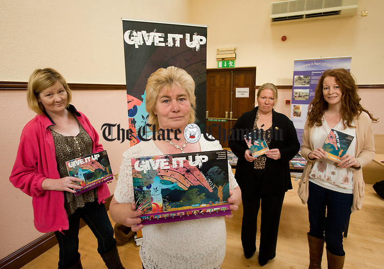 Community Health Workers; Kathleen Sherlock, Ann Keenan and Catherine Mc Carthy with Marianne Murphy, co-ordinator, at the launch of Give It Up, a DVD and calendar produced by the Clare Primary Healthcare Programme for Travellers. Photograph by John Kelly.