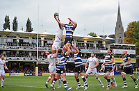 Forwards compete for the ball at a lineout. Aviva Premiership match, between Bath Rugby and Exeter Chiefs on October 17, 2015 at the Recreation Ground in Bath, England. Photo by: Patrick Khachfe / Onside Images