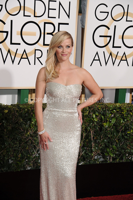 WWW.ACEPIXS.COM<br /> <br /> January 11 2015, LA<br /> <br /> Reese Witherspoon arriving at the 72nd Annual Golden Globe Awards at The Beverly Hilton Hotel on January 11, 2015 in Beverly Hills, California.<br /> <br /> <br /> By Line: Peter West/ACE Pictures<br /> <br /> <br /> ACE Pictures, Inc.<br /> tel: 646 769 0430<br /> Email: info@acepixs.com<br /> www.acepixs.com
