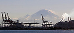 Port of Seattle, cranes, container ships with Mt. Rainier in background. Jim Bryant Photo. ©2010. All Rights Reserved.