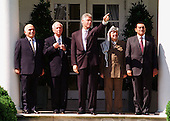 """United States President Bill Clinton poses with Middle East Leaders prior to the signing of the """"Oslo 2"""" Accord on September 28, 1995.  From left to right:  King Hussein of Jordan; Prime Minister Yitzhak Rabin of Israel; President Clinton; Chairman Yasser Arafat of the Palestinian Authority; and President Hosni Mubarak of Egypt..Credit: Arnie Sachs / CNP."""