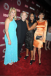 "Kim Alexis,Timothy Greenfield-Sanders,  Beverly Johnson,and Carol Alt  attend the New York Premiere of  HBO's ""About Face: Supermodels Then and Now"" on July 17, 2012 at The Paley Center for Media in New York City. This was filmed by Timothy Greenfield-Sanders."