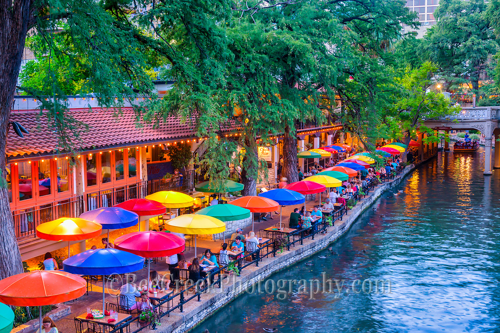 Another great evening along the scenic riverwalk in downtown San Antonio. This popular tourist attraction has some wonderful places to enjoy a meal on the river or take a stroll for the several miles along this scenic site in the heart of San Antonio Texas. This is one of SA top travel desination in the city. Watermark will not appear on image