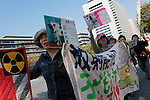 Anti nuclear protest march by women outside the Ministry of Economy, Trade and Industry (METI) in Tokyo Japan. Friday November 4th 2011. The protest ran from October 27th to Noverber 5th. Originally started my mothers from Fukushima protesting about nuclear contamination from October 30th to November 5th the protest welcomed women and people from all over Japan.