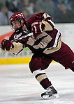 "19 January 2007: Boston College forward Brock Bradford from Burnaby, BC, shoots and scores the first goal of the game and his seventh of the season during a Hockey East matchup against the University of Vermont at Gutterson Fieldhouse in Burlington, Vermont. The UVM Catamounts defeated the BC Eagles 3-2 before a record setting 50th consecutive sellout at ""the Gut""...Mandatory Photo Credit: Ed Wolfstein Photo."