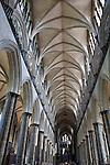 Nave of Salisbury Cathedral Church, Salisbury, England, UK