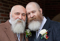 LARRY DUNCAN, 56, left, and RANDELL (RANDY) SHEPHERD, 48, from North Bend, Wash., pose for a photo before their wedding on December 9, 2012, the first day that same-sex marriage was allowed in the state of Washington. The couple have been together for 11 years. Originally from the suburbs of Dallas, Texas, they moved to Washington seven years ago to obtain more gay rights. They got married at 2pm at Seattle First Baptist Church in a group ceremony with 24 other couples.