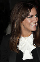 Caroline Flack spotted arriving at Somerset House, London on 15 February for the PPQ event which was part of London Fashion Week LFW  Autumn Winter 2013 Show. Paparazzi Photos