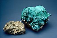 CHALCOPYRITE AND MALACHITE<br /> Two Ores of Copper Compared<br /> Chalcopyrite, a copper iron sulfate mineral, and malachite, a copper carbonate mineral, are both ores of copper.