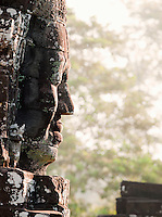 A stone face built into the Bayon Temple at Angkor, Cambodia