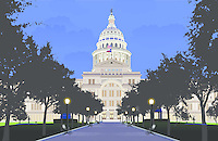 Illustration graphic eps image of the Texas State Capitol built 1888 of 'sunset red' pink granite from a Granite Mountain Quarry in Marble Falls - largest of all state capitols - second only in size to National Capitol in Washington DC but surpasses National Capitol in height - Austin, Texas