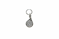 A key ring with religious inscription is one of a number of items of clothing and objects found in an Islamic clothing and accessory shop in the Bagicilar district of Istanbul.