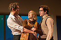 London, UK. 27.11.2012. MERRILY WE ROLL ALONG opens at the Menier Chocolate Factory. Director Maria Friedman, lighting design by David Hersey and set and costume design by Soutra Gilmour. Picture shows: Mark Umbers (Franklin Shepherd), Jenna Russell (Mary Flynn), Damian Humbley (Charley Kringas).  (Photo credit: Jane Hobson.