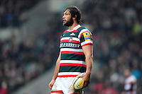 Dom Barrow of Leicester Tigers looks on during a break in play. Aviva Premiership match, between Leicester Tigers and Gloucester Rugby on February 11, 2017 at Welford Road in Leicester, England. Photo by: Patrick Khachfe / JMP