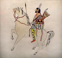 Rio Grande Pueblo Indian on horseback, painting by Abel Sanchez or Oqwa Pi, 1899-1971, Puebloan artist, in the Chapin Mesa Archeological Museum, in Mesa Verde National Park, Montezuma County, Colorado, USA. Abel Sanchez is from New Mexico, and is of the Santa Fe Indian School of Art. Mesa Verde is the largest archaeological site in America, with Native Americans inhabiting the area from 7500 BC to 13th century AD. It is listed as a UNESCO World Heritage Site. Picture by Manuel Cohen