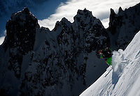 skier on steep Chamonix snow