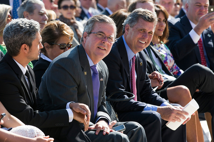 Jeb Bush, left,  and Marvin Bush,   brothers of George W. Bush attend the dedication of the George W. Bush presidential library on the campus of Southern Methodist University in Dallas.