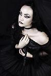 Black widow bride, female in gothic wedding dress