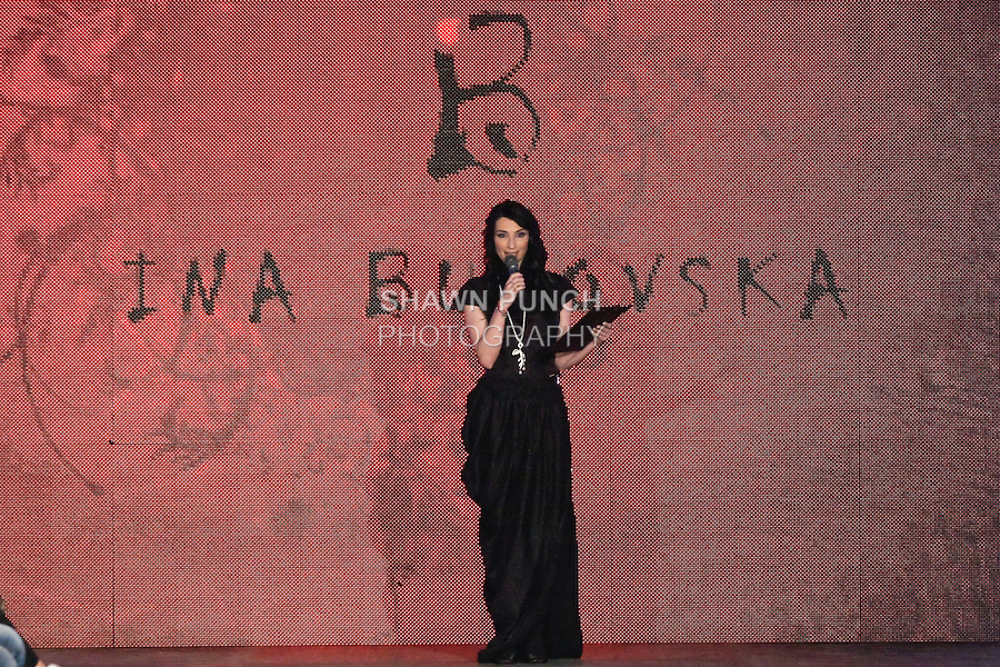 Moderator and fashion model Lucia Hablovicova, presents the Ina Budovska 2012 &quot;Pink Punk Slovak Experiences&quot; collection fashion show by Ina Budovska, during the Factory Fashion Show 2012, organized by Ina Budovksa in Trencin Slovakia, May 3, 2012.