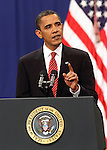 U.S. President Barack Obama announces the US Afghanistan Policy during a major speech at West Point Military Academy in upstate New York.
