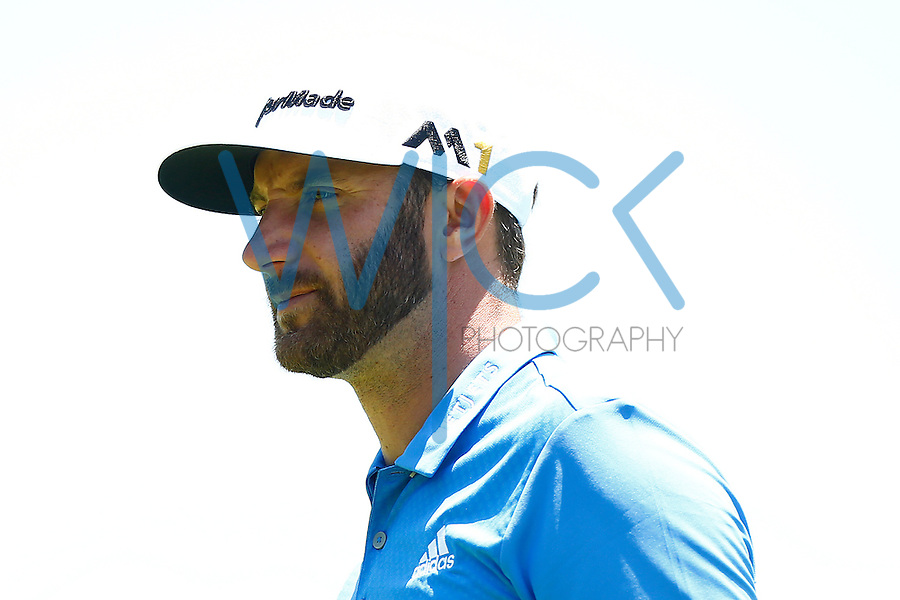 Dustin Johnson looks on from the 16th green during the 2016 U.S. Open in Oakmont, Pennsylvania on June 17, 2016. (Photo by Jared Wickerham / DKPS)