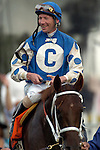 BALTIMORE, MD - Smarty Jones with Stewart Elliott aboard on the turf after winning the 2004 Preakness Stakes at Pimlico race track May 15, 2004