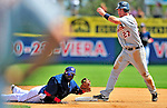 15 March 2009: Detroit Tigers' outfielder Brent Clevlen is caught at second base by shortstop Cristian Guzman during a Spring Training game against the Washington Nationals at Space Coast Stadium in Viera, Florida. The Tigers shut out the Nationals 3-0 in the Grapefruit League matchup. Mandatory Photo Credit: Ed Wolfstein Photo