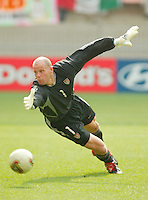 Brad Friedel watches a shot go wide during the second round against Mexico in Jeonju, Soth Korea, Monday June 17, 2002. Images provided in partnership with International Sports Images. (Please credit: John Todd/Int'l Sports Images/DSA)