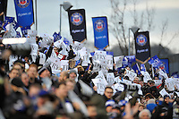 Bath Rugby supporters in the crowd celebrate a try. European Rugby Champions Cup match, between Bath Rugby and RC Toulon on January 23, 2016 at the Recreation Ground in Bath, England. Photo by: Patrick Khachfe / Onside Images