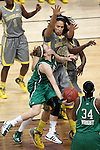 03 APR 2012: Natalie Novosel (21) of the University of Notre Dame goes up for a shot against Brittney Griner (42) of Baylor University during the Division I Women's Basketball Championship held at the Pepsi Center in Denver, CO. Matt Marriott/NCAA Photos