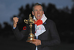 Europe's Ian Poulter celebrates with the Ryder cup <br /> <br /> Photographer Ian Cook/CameraSport<br /> <br /> International Golf - 2014 Ryder Cup - Day 3 - Sunday 28th September 2014 - PGA Centenary Course - Gleneagles Hotel - Auchterarder, Scotland<br /> <br /> &copy; CameraSport - 43 Linden Ave. Countesthorpe. Leicester. England. LE8 5PG - Tel: +44 (0) 116 277 4147 - admin@camerasport.com - www.camerasport.com