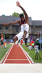 12 JUNE 2010: Melvin Echard of Texas A&M flies through the air in the Mens long jump during the Division I Men's and Women's Track and Field Championship held at Hayward Field on the University of Oregon campus in Eugene, OR.  Steve Dykes/NCAA Photos